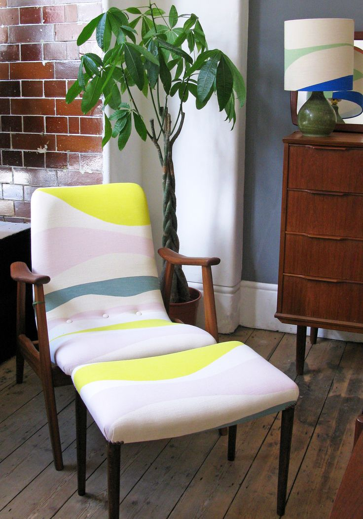 Scandinavian Chair and footstool   Re-upholstered in exclusive Tamasyn Gambell fabric