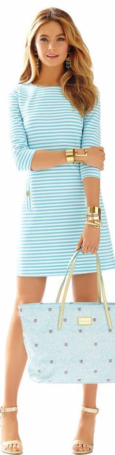 Women's fashion | Pale teal striped dress, heels, golden bracelets, handbag