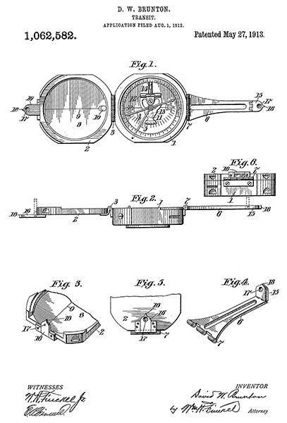 1913 - Pocket Transit Compass - D. W. Brunton - Patent Art Poster