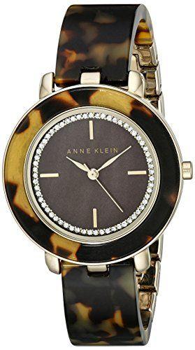 Anne klein women s ak 1972bmto swarovski crystal accented dial tortoise resin bangle watch for Anne klein swarovski crystals