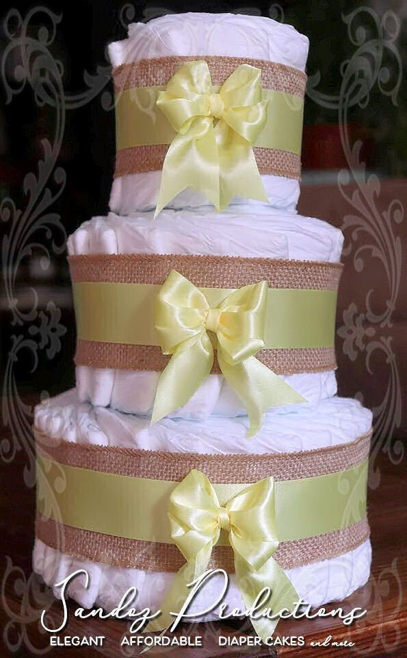Yellow Diaper Cake Boy Diaper Cake Girl Diaper Cake Satin 3 Tier Shabby Chic Traditional Simple Burlap Farmhouse Diaper Cakes Girl Diaper Cake Diaper Cake Boy