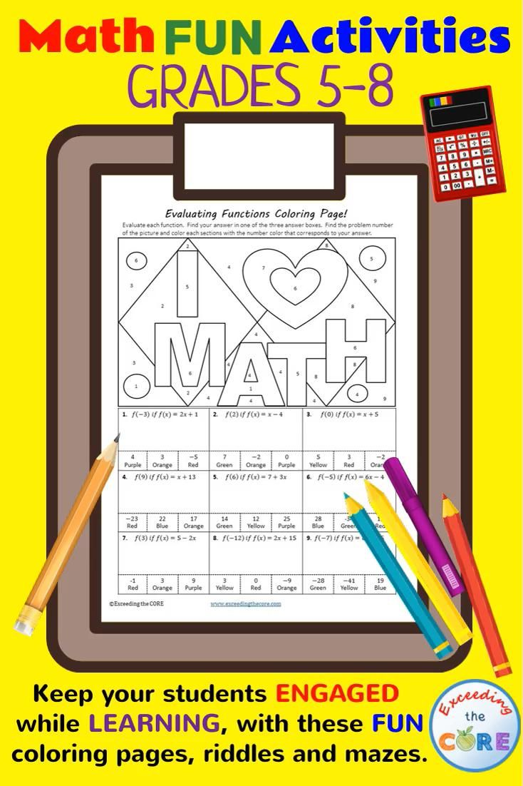 Math Mazes, Riddles, Coloring Pages Grades 58 [Video] in
