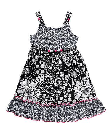 This Black & White Floral A-Line Dress - Toddler & Girls is perfect! #zulilyfinds