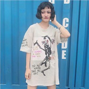 韓国 ファッション 原宿系 パロディー ドクロ柄 ロング丈 半袖 Tシャツ レディース トップス ワンピース カラフル ダンス 衣装 派手 カワ 個性的 かわいい 奇抜 青文字系