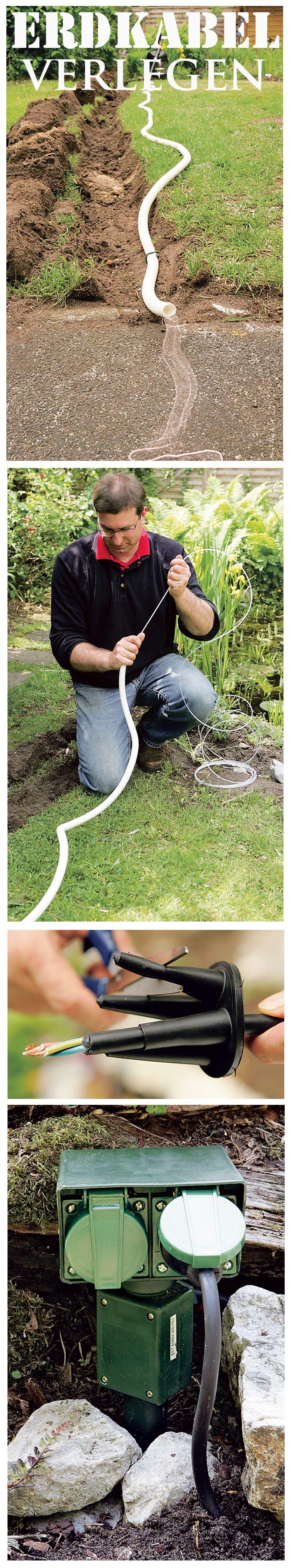 Wer im Garten viel mit Elektrogeräten arbeitet, benötigt einen Stromanschluss. Diesen kann man als Erdkabel verlegen. Wir zeigen, wie man den Stromanschluss im Garten legt.