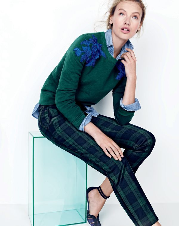 DEC '15 Style Guide: J.Crew women's sweatshirt with floral appliqué, always chambray shirt, Black Watch tuxedo pant and suede and satin ankle-strap flats.