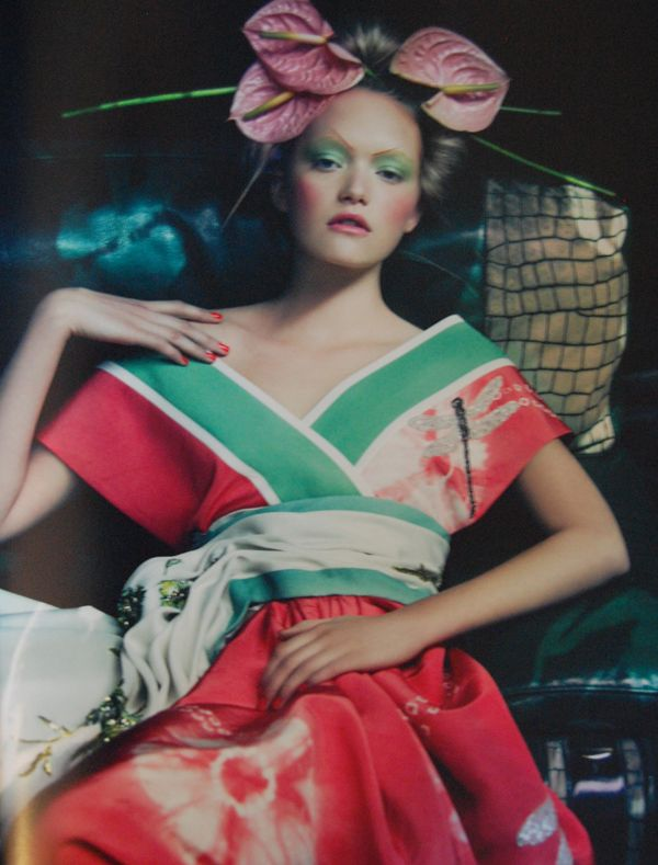 patrick demarchelier - dior couture photo.  Kimono with dragonfly details and lillies in hair.