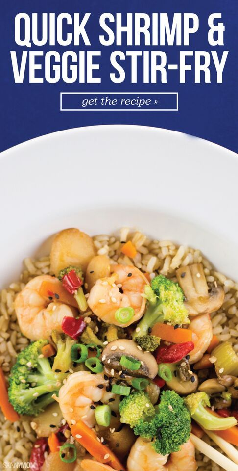 Quick Shrimp and Veggie Stir-Fry- A tasty seafood dish that just takes 15 minutes to cook!