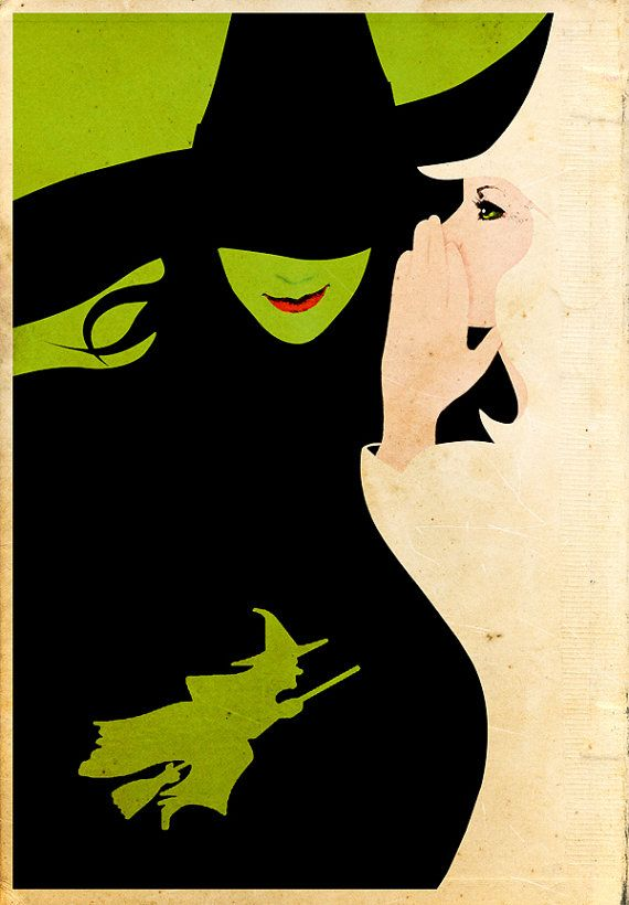 Wicked Musical Tale of Oz Art Wall Art Print by geeksleeksheek  ✔ Saw the incredible Wicked in London's Apollo Theatre #oneoffthebucketlist