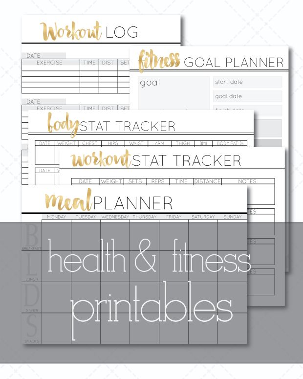Health & Fitness Printables from Cathartic Malarkey. Workout log, body tracker, meal planner and fitness goal planner!