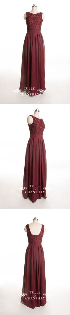 burgundy lace bridesmaid dresses with chiffon skirt for fall 2015