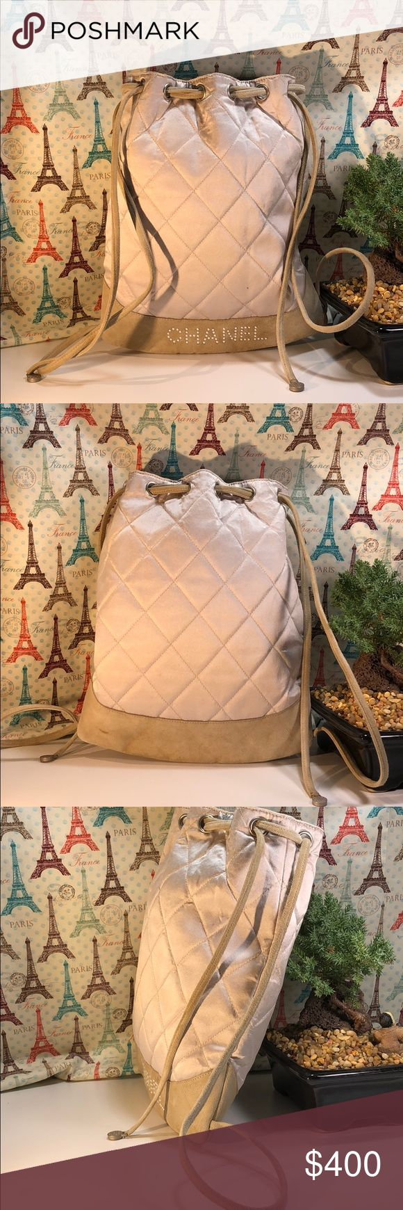 Authentic Chanel Canvas Suede Cross Body The canvas and strap showed signs of used as the bag was preowned. The bag made in Italy with serial 6857221. Inside there some little stains. The dimension 9.5 and 11.5. No trade please CHANEL Bags Crossbody Bags