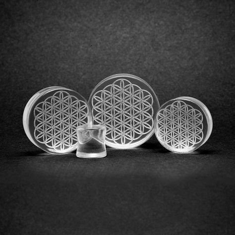 Glass Flower Of Life Plug | Custom Plugs - Best Ear Gauges, Flesh Tunnels For Stretched Ears