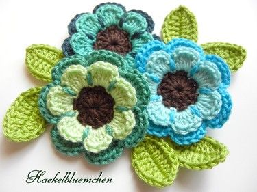 Crochet flowers 6 pcs