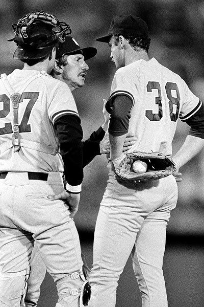 DECEMBER 27,  1984 - Free agent pitcher Ed Whitson, who went 14-8 for the NL champion Padres, begins a nightmarish association with the Yankees by signing a five-year $4.4 million contract. By the middle of his second year with the club, he gets so rattled in New York that he can only pitch on the road. The Yankees ship him back to San Diego, where he has four solid years.[photo Wynegar,Martin,Whitson]