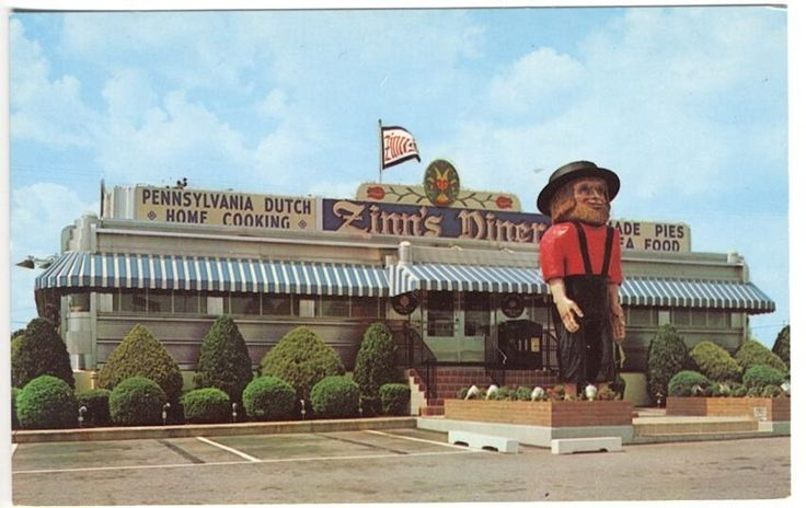 Denver PA Zinn's Modern Diner Giant Amish Man Statue Homemade Food Postcard