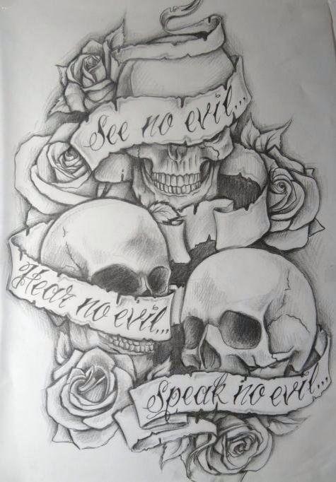 See no evil hear no evil speak no evil skulls