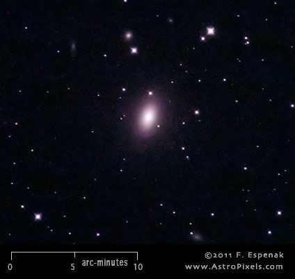 M59 (also designated NGC 4621) is a elliptical galaxy in the constellation Virgo. It has an apparent visual magnitude of 9.6 and its angular diameter is 5x3.5 arc-minutes. M59 lies at an estimated distance of 60 million light years.