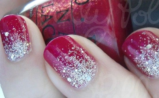 Red And Silver Glitter Acrylic Nails - Nails Art Ideas