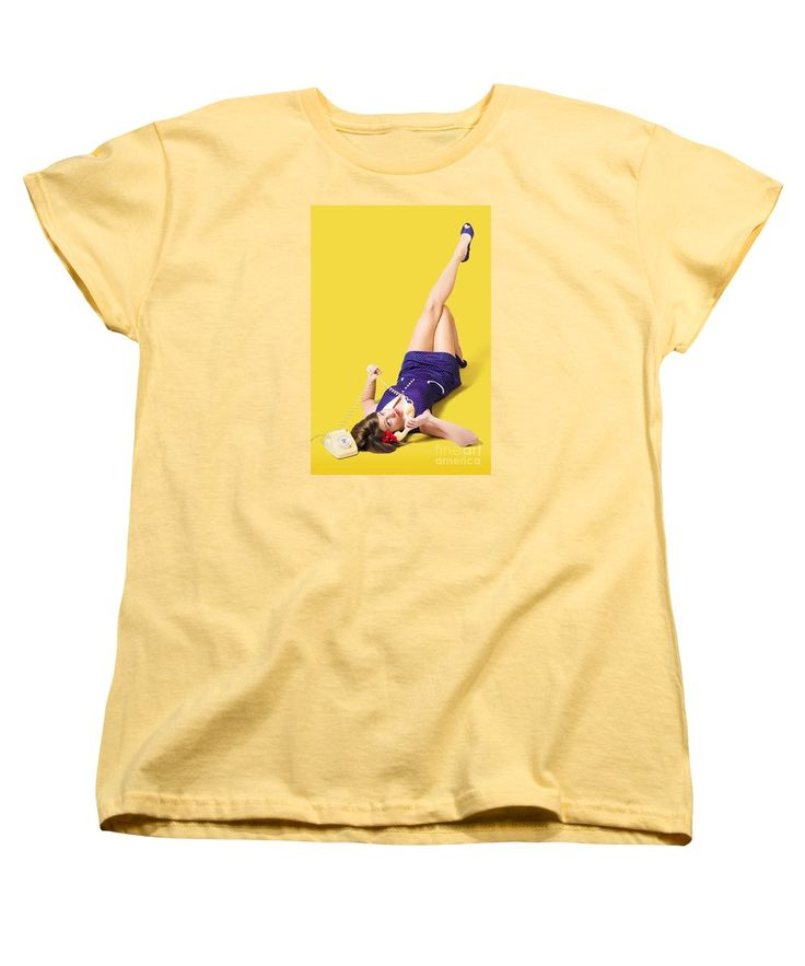 Yellow Women's T-Shirt featuring the photograph Retro 1950s Pinup Girl Chatting On Telephone by Ryan Jorgensen