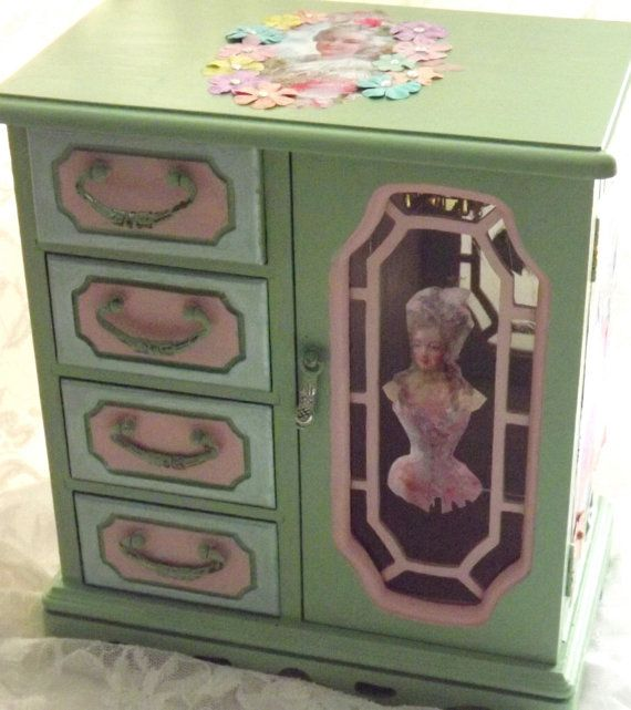 MBS Jewelry Box Hand Painted Mint Green Vintage Jewelry Armoire  Let Them Eat Cake  Marie Antoinette Themed Jewelry Box Jewelry Storage & 1152 best jewelry box ideas images on Pinterest | Cigar boxes ... Aboutintivar.Com