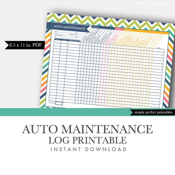 Auto Maintenance Log  Vehicle Maintenance Log  by OmbreOrganizers