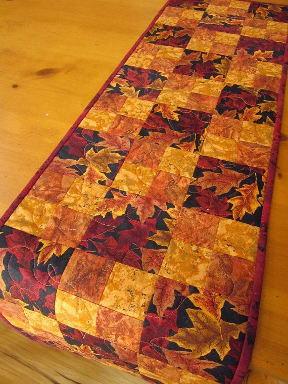 Fall Table Runner Handmade Quilted Leaves by PatchworkMountain, $36.00