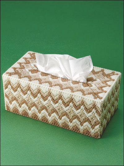 Plastic canvas Long stitch tissue box cover from e-patternscentral.com
