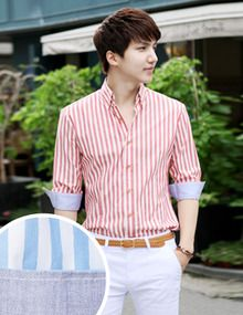 Today's Hot Pick :Striped Roll Up Sleeve Shirt http://fashionstylep.com/SFSELFAA0011637/top3666en1/out Timelessly dapper and surprisingly versatile, a striped shirt has a place in every wardrobe. This roll up sleeve version is spot on. This handsome, slim-fitting piece is cut from smooth lightweight cotton with a sharp collar and tapered cuffs. - Button down collar - 3/4 sleeves with roll up cuffs - Striped pattern - Button front closure - Slim fit - Colors: Khaki, Sky Blue, Charcoal, Red