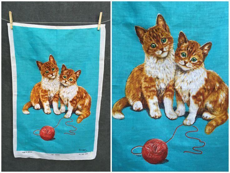 60's Mid Century Lamont Tea Towel // Turquoise with Orange Tabby Kittens NWT by ElkHugsVintage on Etsy
