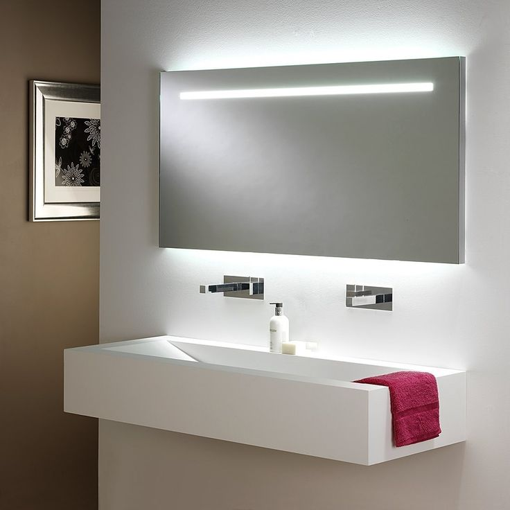 Bathroom Contemporary Decoration With Rectangular Mirror And Also White Sink Designed