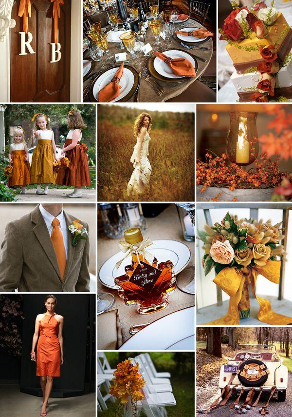 Яркие цвета для осенней свадьбы. Добавьте в декор вашего праздника оранжевый, желтый и зеленый.