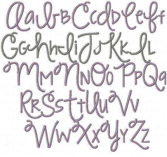 2 inch modern handwriting script machine embroidery file Modern script font