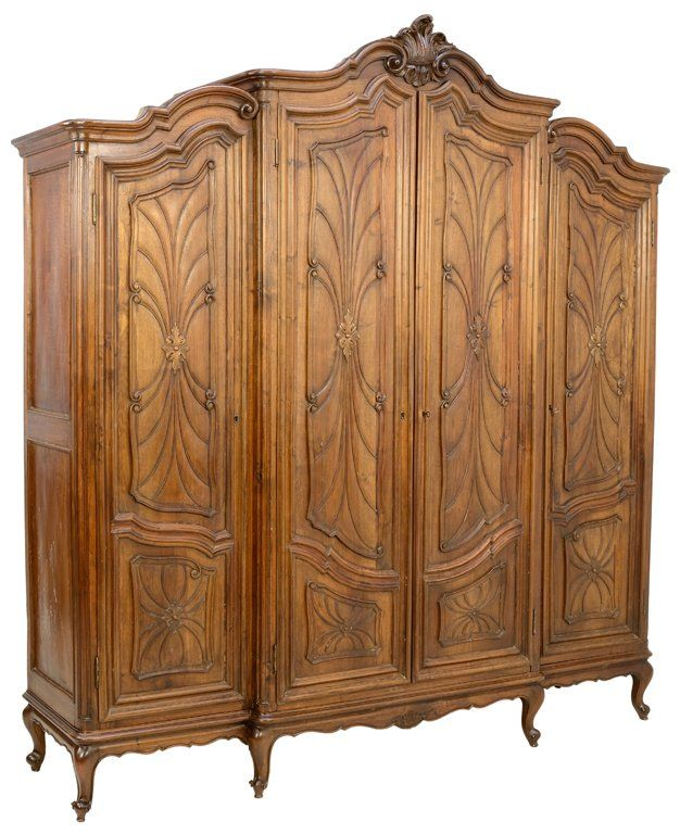 an italian art nouveau style walnut finish triple armoire fine furnishings pinterest. Black Bedroom Furniture Sets. Home Design Ideas