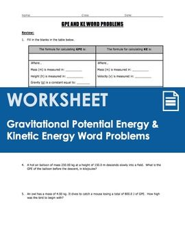 A 5-page review worksheet that covers gravitational potential energy (GPE=mgh) AND kinetic energy (KE=1/2MV2) calculations through a set of 10 word problems. Page 1