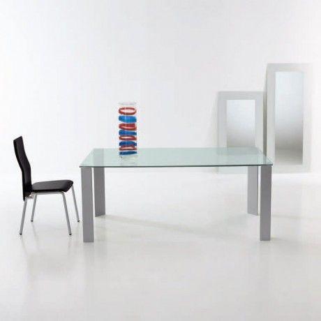 Table de salle manger en verre rectangulaire jean for Table salle a manger jean nouvel