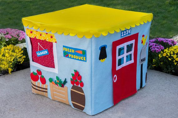 """SO CUTE! Sew a felt play house that slips over a card-table (or the dining table) when you want to use. This one is a farm stand and has on the back 2 sides the """"farm"""" with stuff growing to pick and put for sale in the store. SO CUTE! The mail slot even opens to drop in """"mail"""" to the farm stand - so many educational opportunities with this!"""