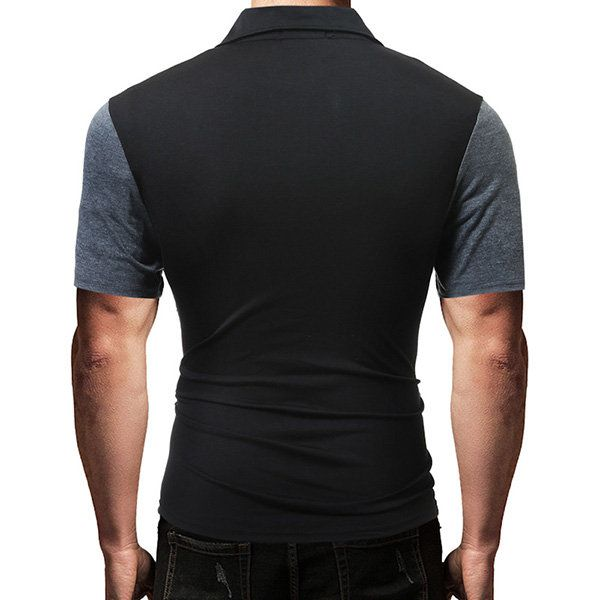 Mens Summer Cotton Hit Color Short Sleeve Turn-down Collar Slim Fit Polo Shirt