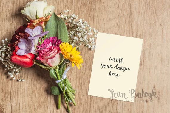 Invitation Card Mock-up With Beautiful Bouquet Of by JeanBalogh