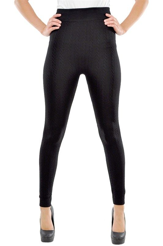 High Quality Cable Knit Tights with Fleece inside in Colors: Black, Beige and Olive Green.