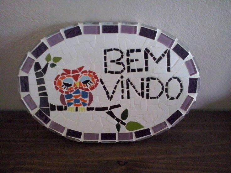 Fiz de presente para minha mãe que ama corujas. Placa em mosaico.