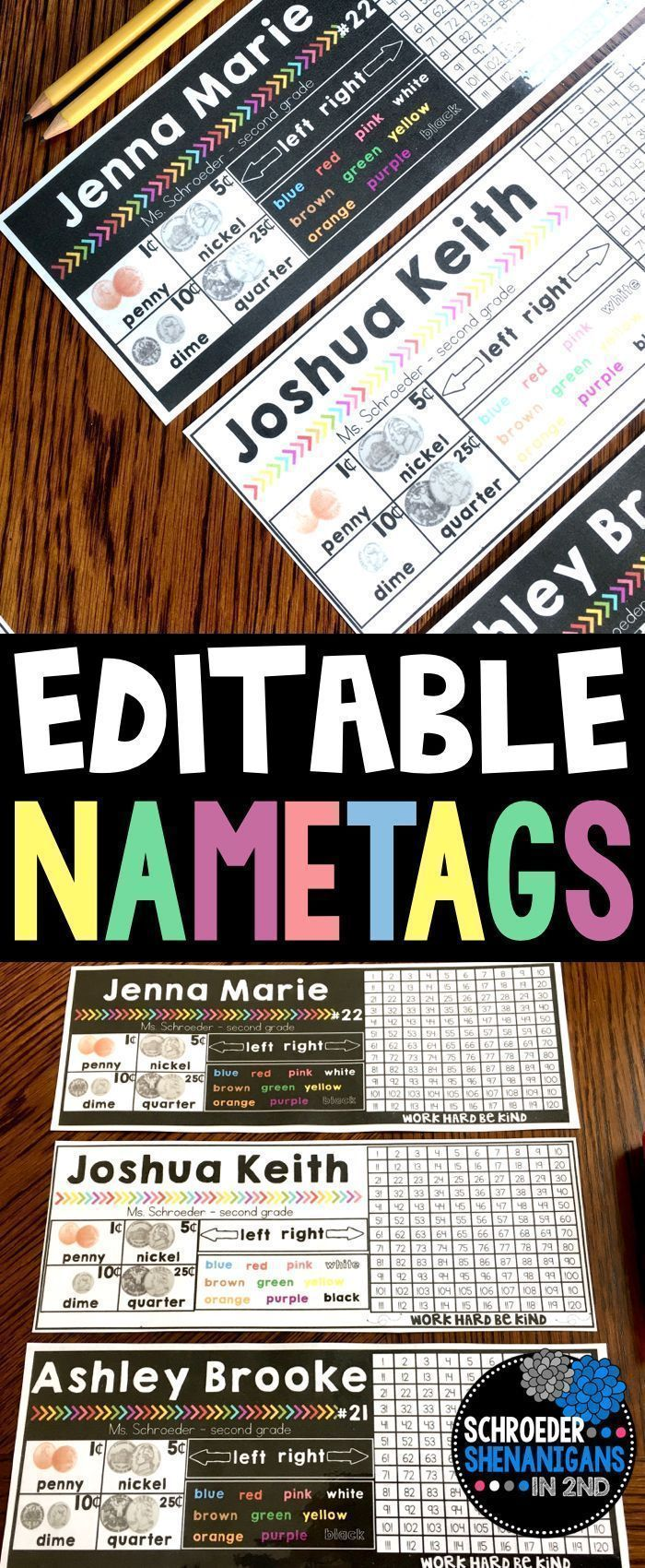 Editable student name tags and name plates that are also a student resources that include colors, directions, money, a number grid, and multiple options for printing! There is also a set of student name tags that includes a number line.