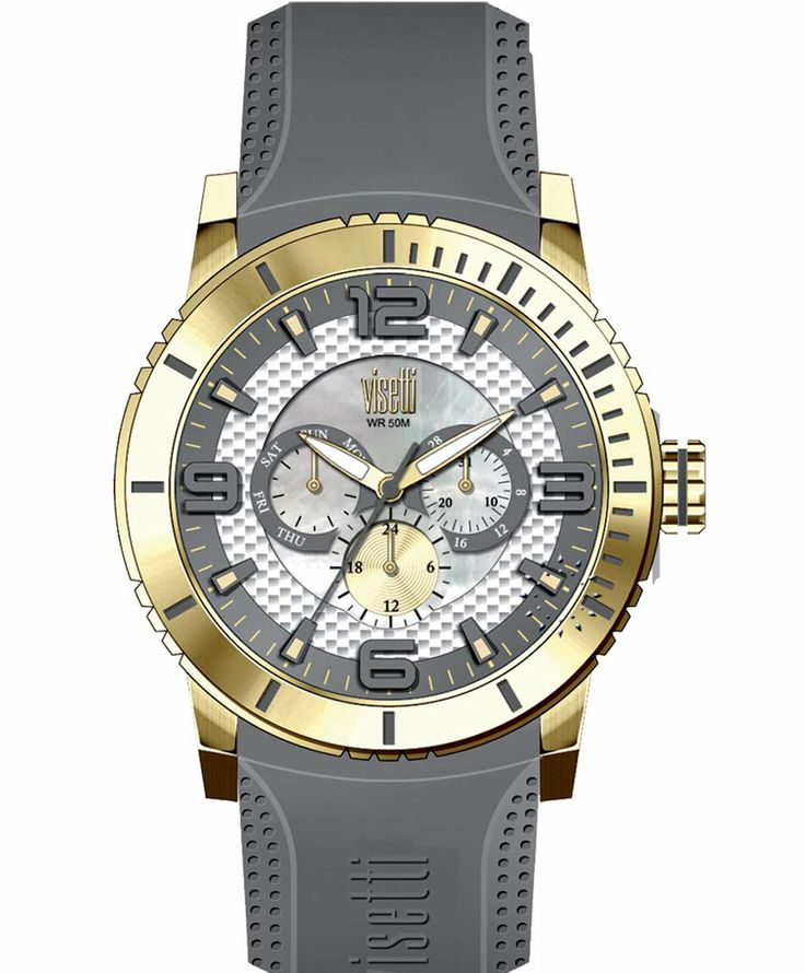 VISETTI New Era Gold Grey Rubber Strap Μοντέλο: PE-750GI Τιμή: 120€ http://www.oroloi.gr/product_info.php?products_id=39484