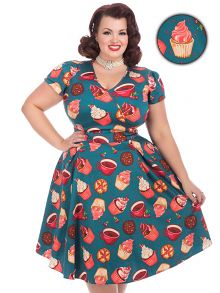 "One of our most popular Lady Voluptuous styles, the fabulous ""Lady Voluptuous"" Estella, designed by Georgina Horne from www.fullerfigurefullerbust.com! The dress features a full 1950s style flared skirt, a flattering cross-over bust, and short sleeves."