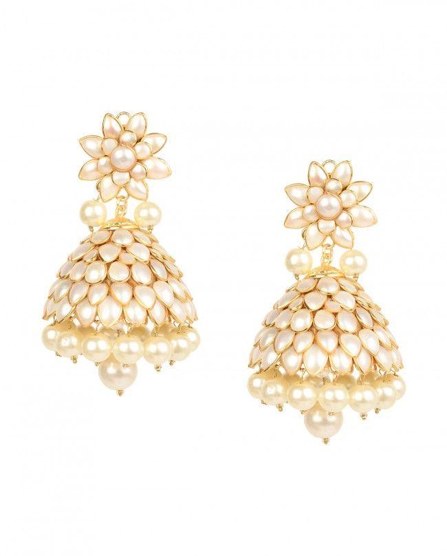 Pearl Jhumka Earrings with Floral Top by Soranam Shop Now http://bit.ly/bestofwedding #India #wedding #PartyWear #Sari #Lengha #Earrings #Jewelry #Lehenga #Saree #Multicolor #Bling #Luxury #Ethnic #Traditional #Chic #Jewellery #DesignerWear #BestofWeddingWeek #ExclusivelyIn #Designer #Desi #Vogue #Indian #Gold #WeddingWear #Zari #Embroidery #Sequins #Pearl #Color