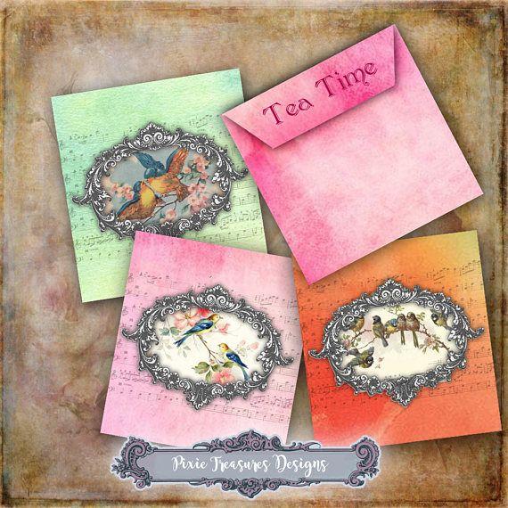 Tea Bag Envelopes in Three Colours #scrapbooking #papercrafts #teabagenvelopes