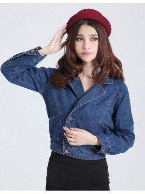 Korea Style Fashionable Long Sleeve Single-Breasted Short Denim Coat
