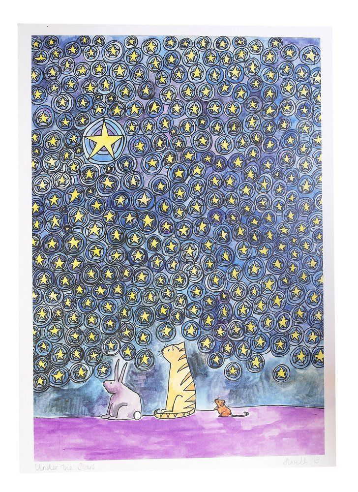 Image of 'Three Friends under the stars' A3 Print £9.95 by Sarah Lovell Art
