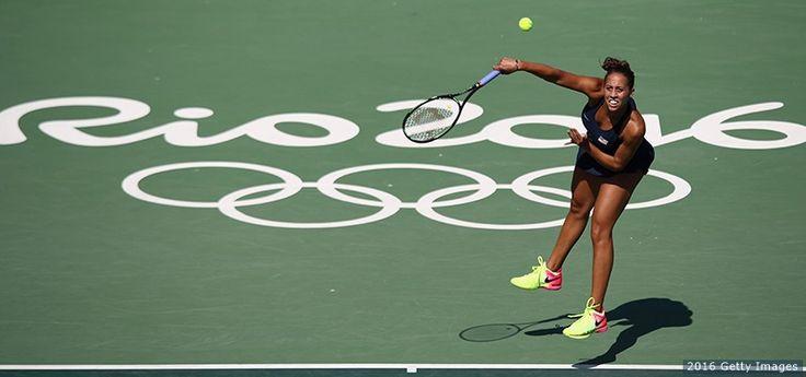 Madison Keys, Tennis - Madison Keys serves in her match against Danka Kovinic of Montenegro in the women's first round at the Rio 2016 Olympic Games at the Olympic Tennis Centre on Aug. 6, 2016 in Rio de Janeiro. Keys beat Kovinic 2-0.