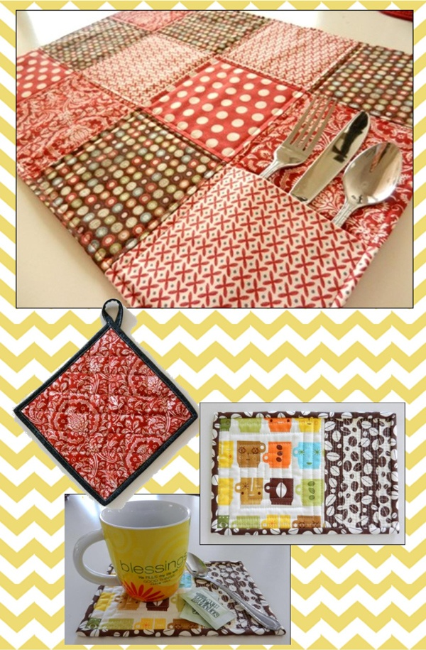 Quilted Kitchen Accessories - mug rug, pocket placemat and quilted potholder sewing pattern by Maggie Elizabeth Designs   Go To Patterns